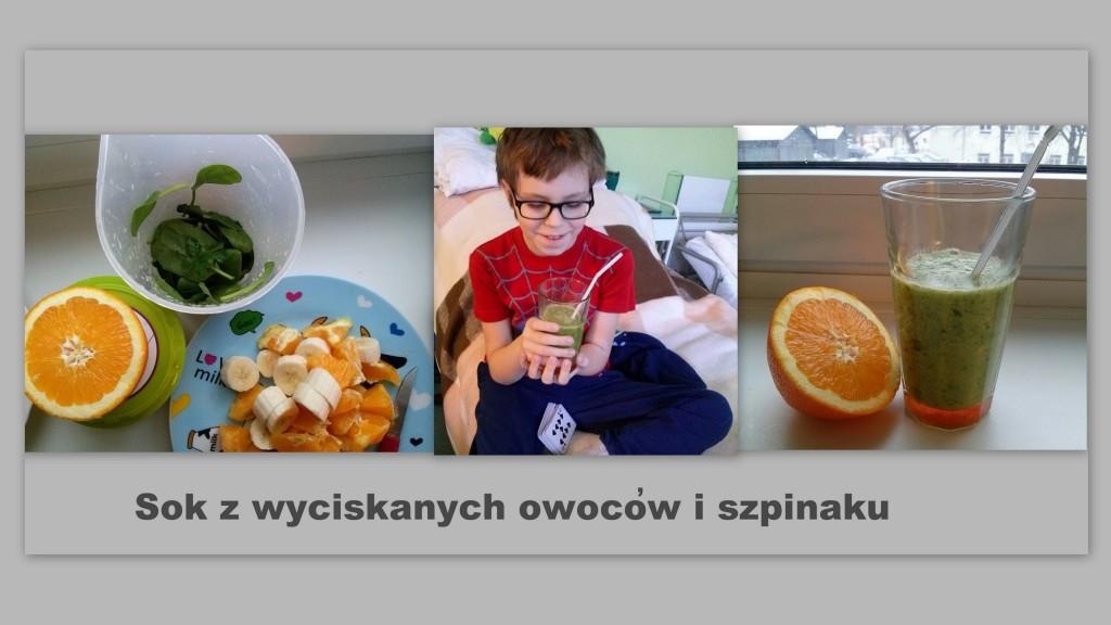 Szymek i sok z wyciskanych owoców i szpinaku