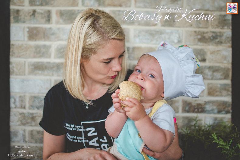 Lidia Kościukiewicz z modelem Sebastianem projekt Bobasy w Kuchni 7
