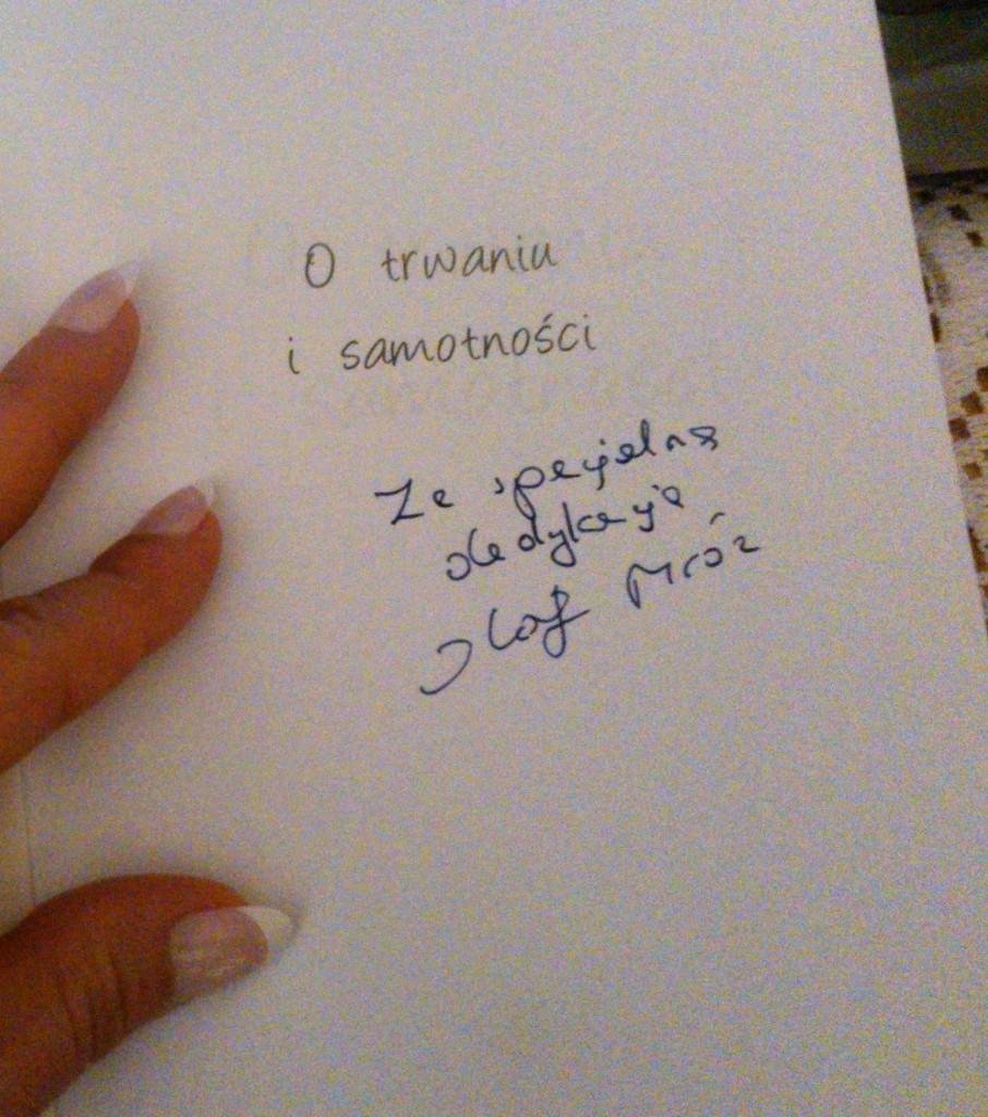 dedykacja na książce od Olafa Mroza