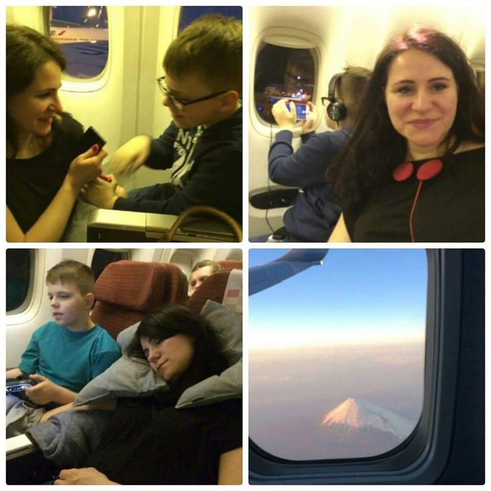 Szymek i ja w samolocie lot do Tokio